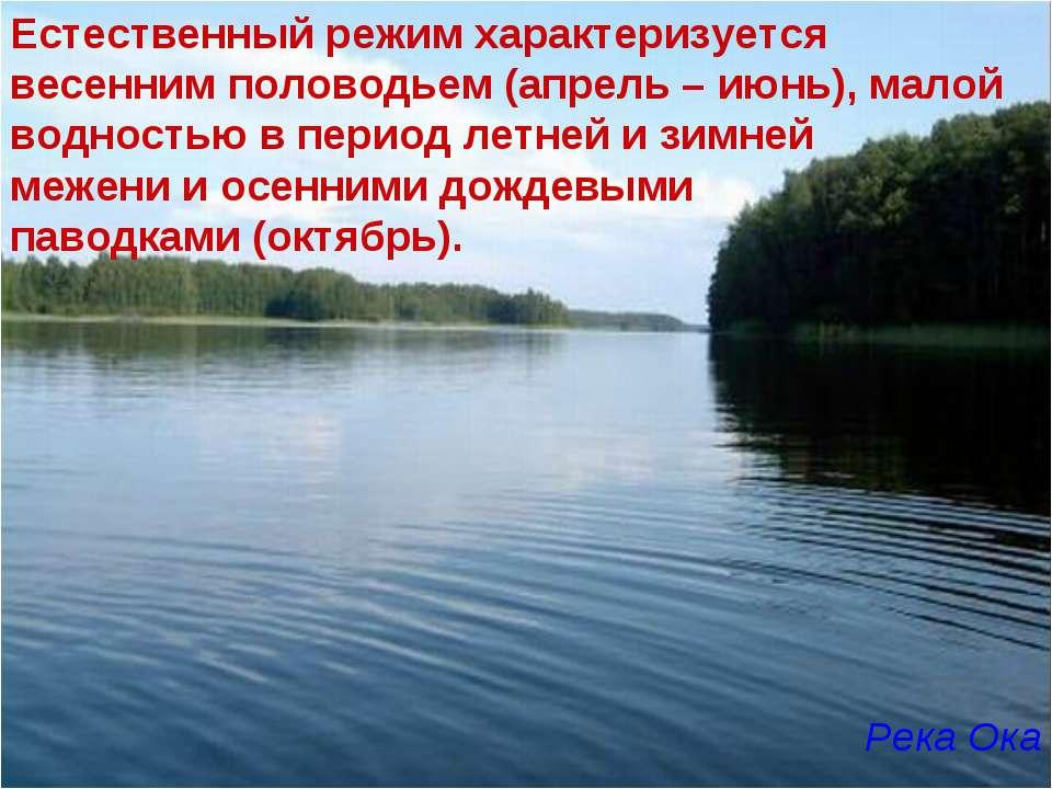Естественный режим характеризуется весенним половодьем (апрель – июнь), малой...