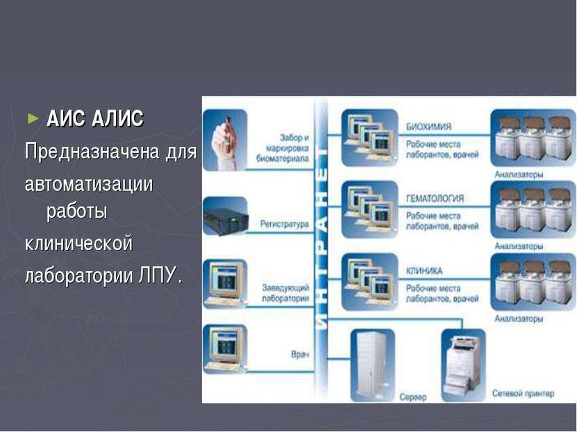 АИС АЛИС Предназначена для автоматизации работы клинической лаборатории ЛПУ.