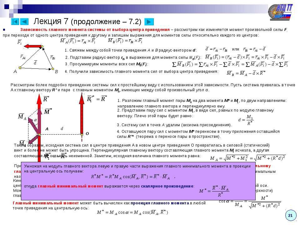 Лекция 7 (продолжение – 7.2) Зависимость главного момента системы от выбора ц...