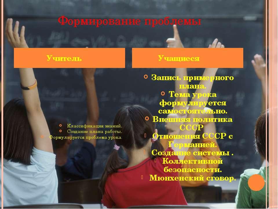 Формирование проблемы Классификация знаний. Создание плана работы. Формулируе...