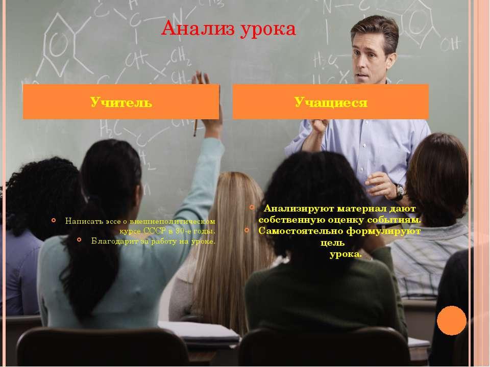 Анализ урока Написать эссе о внешнеполитическом курсе СССР в 30-е годы. Благо...