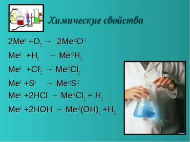 Химические свойства 2Me0 +O2 → 2Me+2O-2 Me0 +H2 → Me+2H2 Me0 +Cl02 → Me+2Cl2 ...