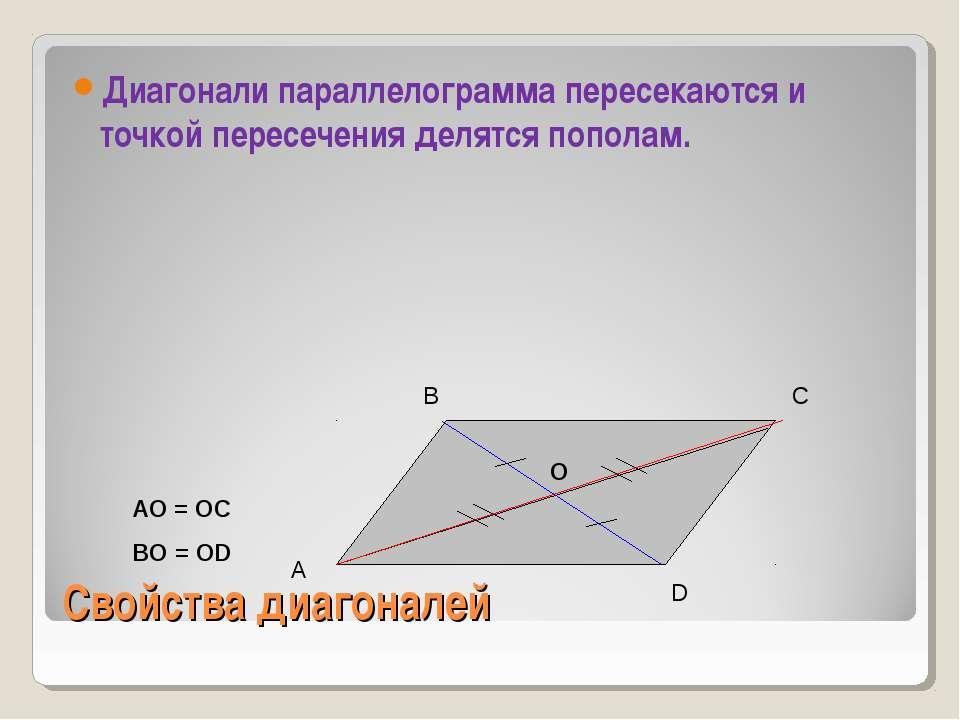 Свойства диагоналей Диагонали параллелограмма пересекаются и точкой пересечен...