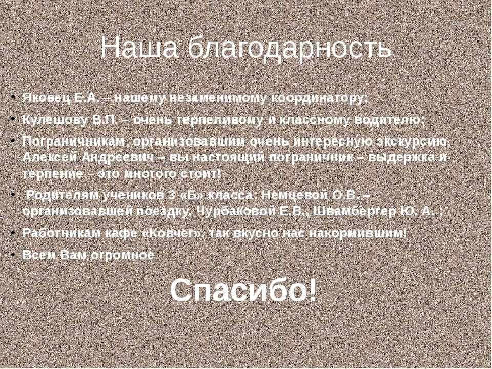 Наша благодарность Яковец Е.А. – нашему незаменимому координатору; Кулешову В...