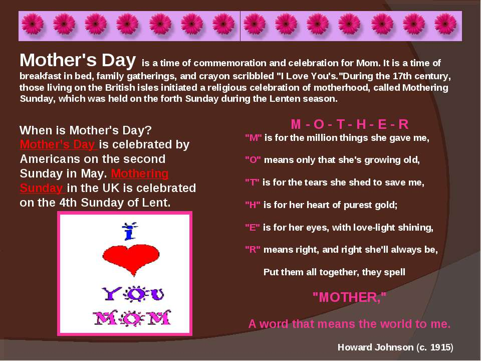 Mother's Day is a time of commemoration and celebration for Mom. It is a time...