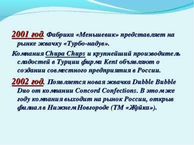 2001 год. Фабрика «Меньшевик» представляет на рынке жвачку «Турбо-надув». Ком...