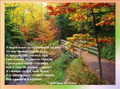 В торжестве пожелтевшей листвы. Но еще предзакатная осень И природа, от счаст...