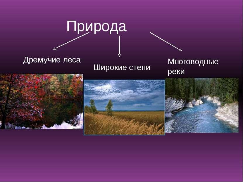 Природа Дремучие леса Широкие степи Многоводные реки