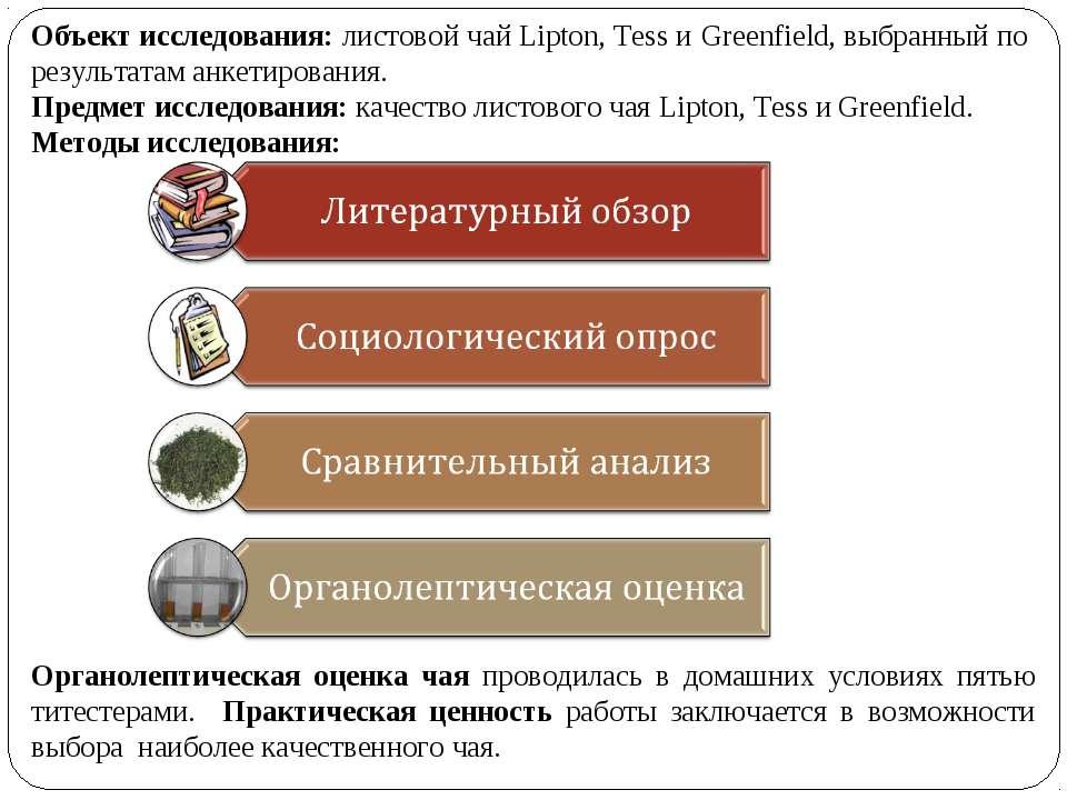 Объект исследования: листовой чай Lipton, Tess и Greenfield, выбранный по рез...