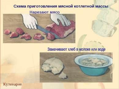 Нарезают мясо Схема приготовления мясной котлетной массы
