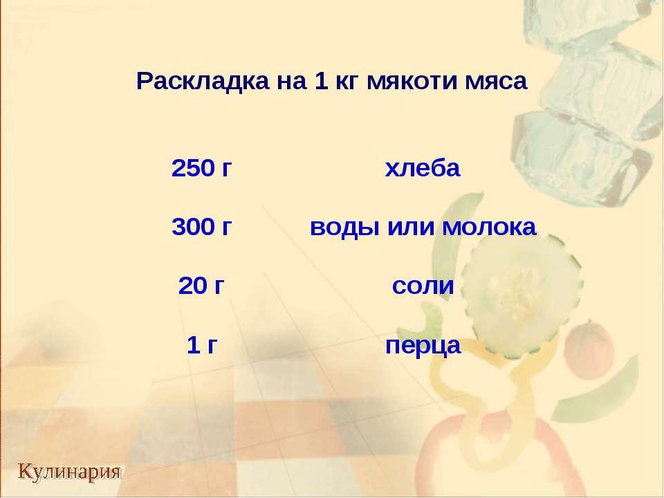 Раскладка на 1 кг мякоти мяса 250 г хлеба 300 г воды или молока 20 г соли 1 г...