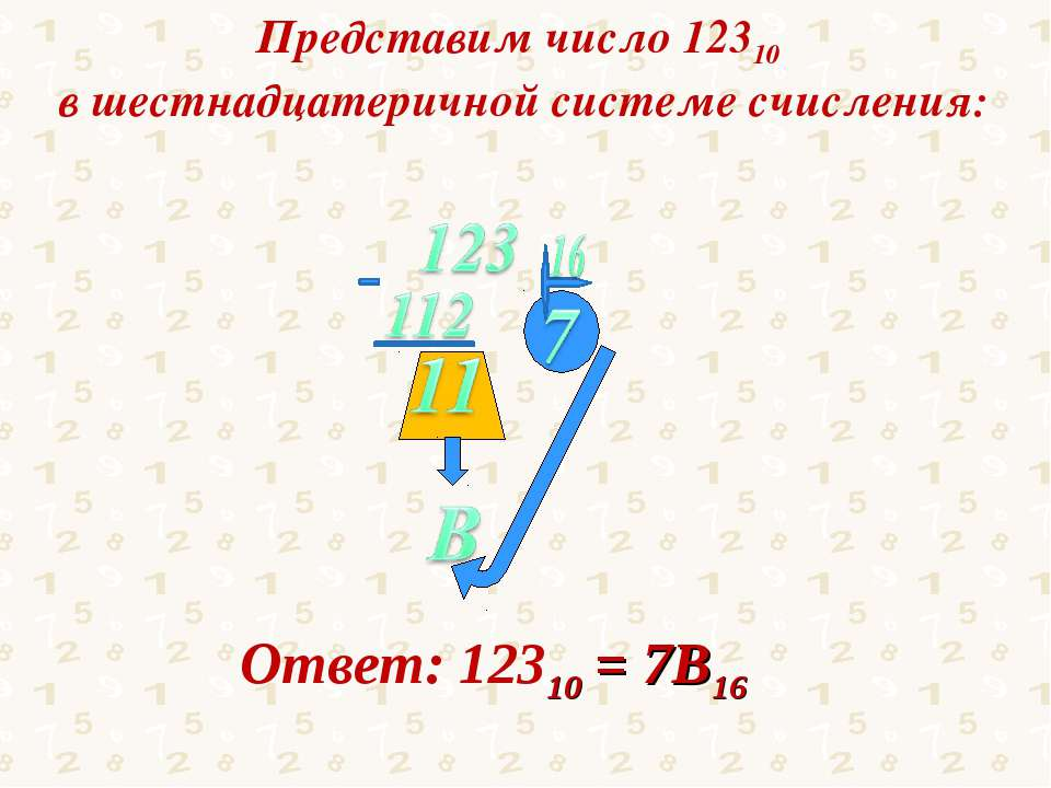 Представим число 12310 в шестнадцатеричной системе счисления: Ответ: 12310 = ...
