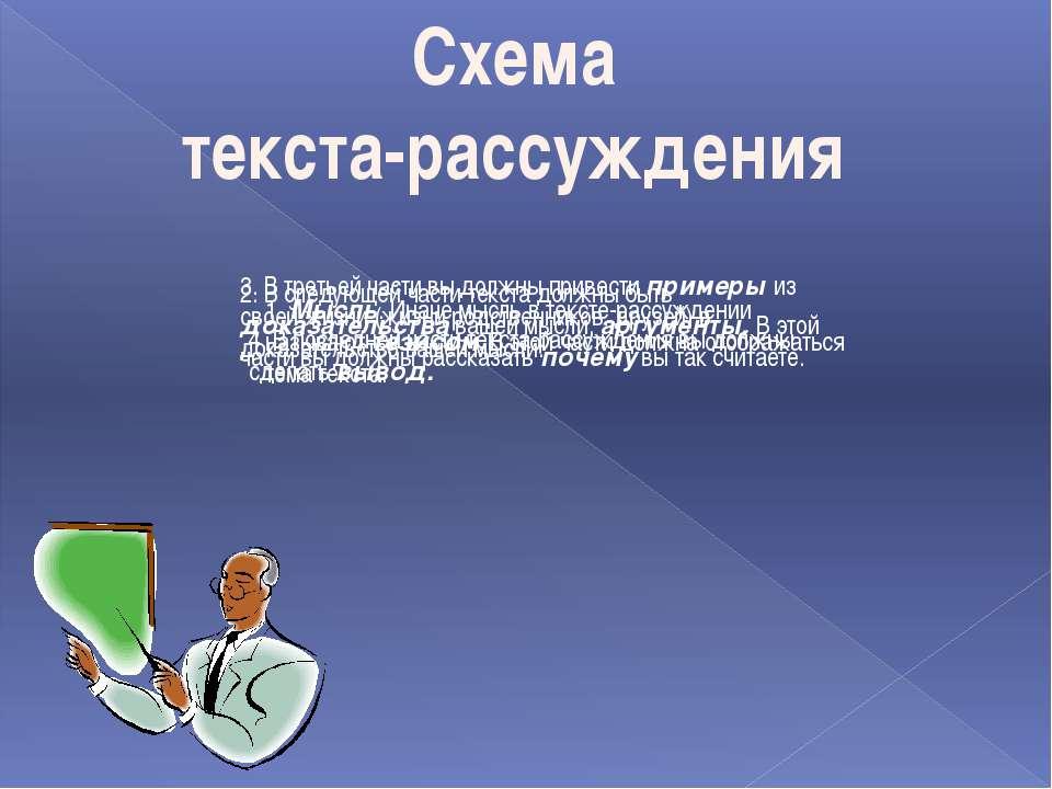 Схема текста-рассуждения 1. Мысль. Иначе мысль в тексте-рассуждении называют ...