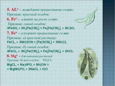 5. AL3+ - замедляет прорастание семян; Признак: красный осадок; 6. Fe2+ - вли...