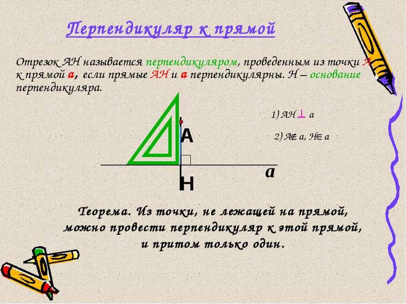 Перпендикуляр к прямой Отрезок АН называется перпендикуляром, проведенным из ...