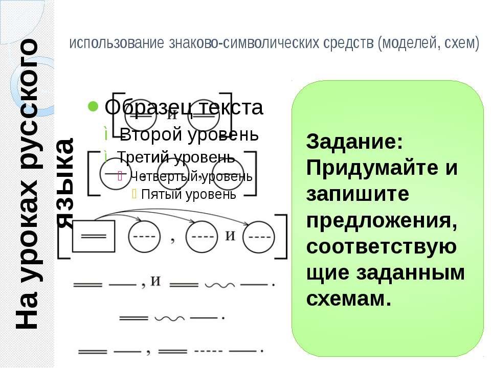 использование знаково-символических средств (моделей, схем) На уроках русског...
