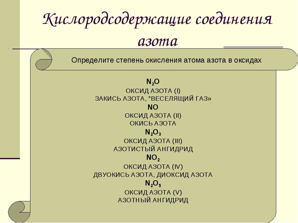 """Кислородсодержащие соединения азота N2O ОКСИД АЗОТА (I) ЗАКИСЬ АЗОТА, """"ВЕСЕЛЯ..."""