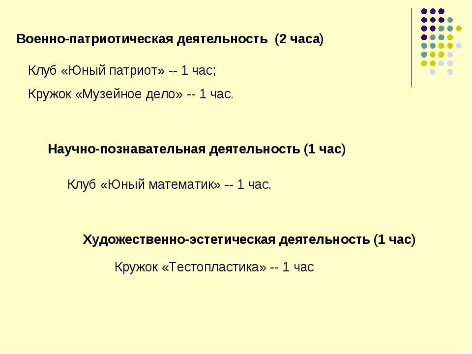 Военно-патриотическая деятельность (2 часа) Клуб «Юный патриот» -- 1 час; Кру...