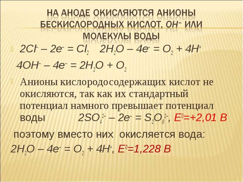 2Cl– – 2e– = Cl2 2H2O – 4e– = O2 + 4H+ 4OH– – 4e– = 2H2O + O2 Анионы кислород...