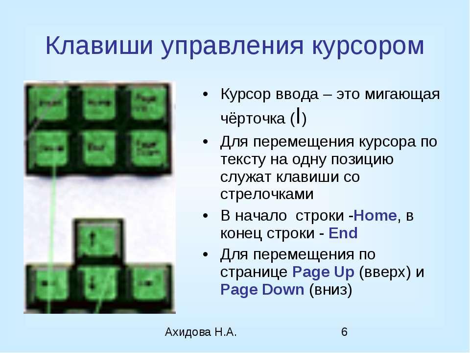 Клавиши управления курсором Курсор ввода – это мигающая чёрточка (I) Для пере...