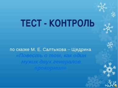 ТЕСТ - КОНТРОЛЬ по сказке М. Е. Салтыкова – Щедрина «Повесть о том, как один ...