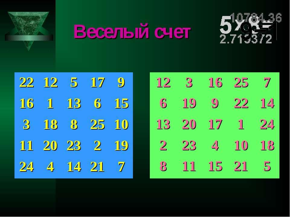 Веселый счет 22 12 5 17 9 16 1 13 6 15 3 18 8 25 10 11 20 23 2 19 24 4 14 21 ...