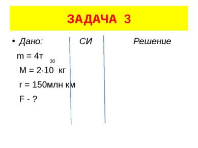 ЗАДАЧА 3 Дано: СИ Решение m = 4т M = 2·10 кг r = 150млн км F - ? 30