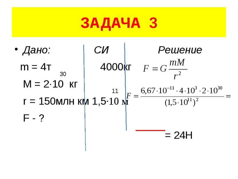 ЗАДАЧА 3 Дано: СИ Решение m = 4т 4000кг M = 2·10 кг r = 150млн км 1,5·10 м F ...