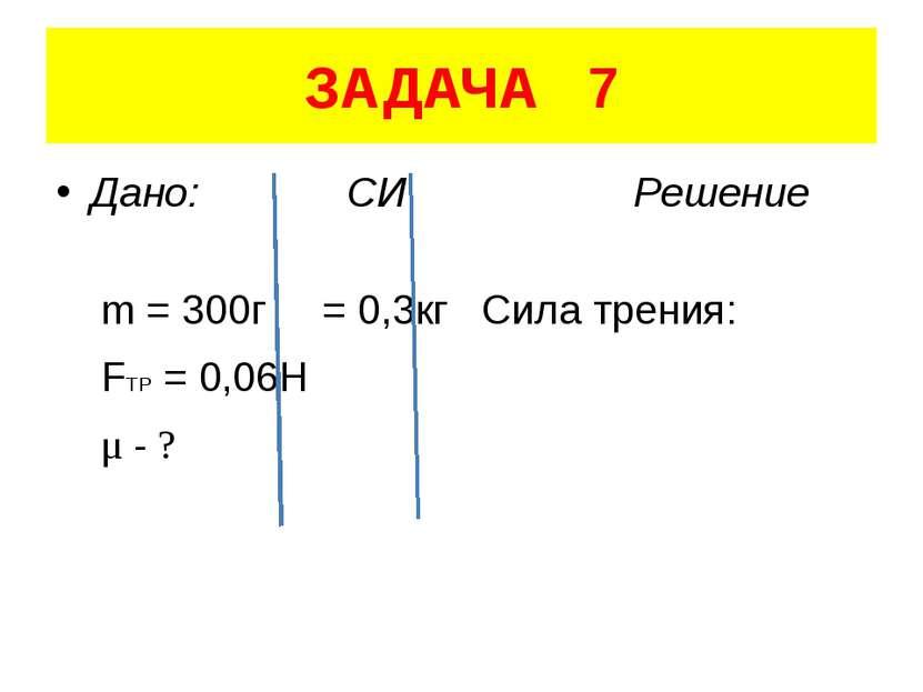 ЗАДАЧА 7 Дано: СИ Решение m = 300г = 0,3кг Сила трения: FTP = 0,06H μ - ?