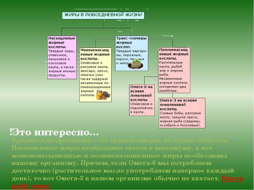 Вредны для организма - это трансизомеры, их нужно избегать. Насыщенные жиры н...
