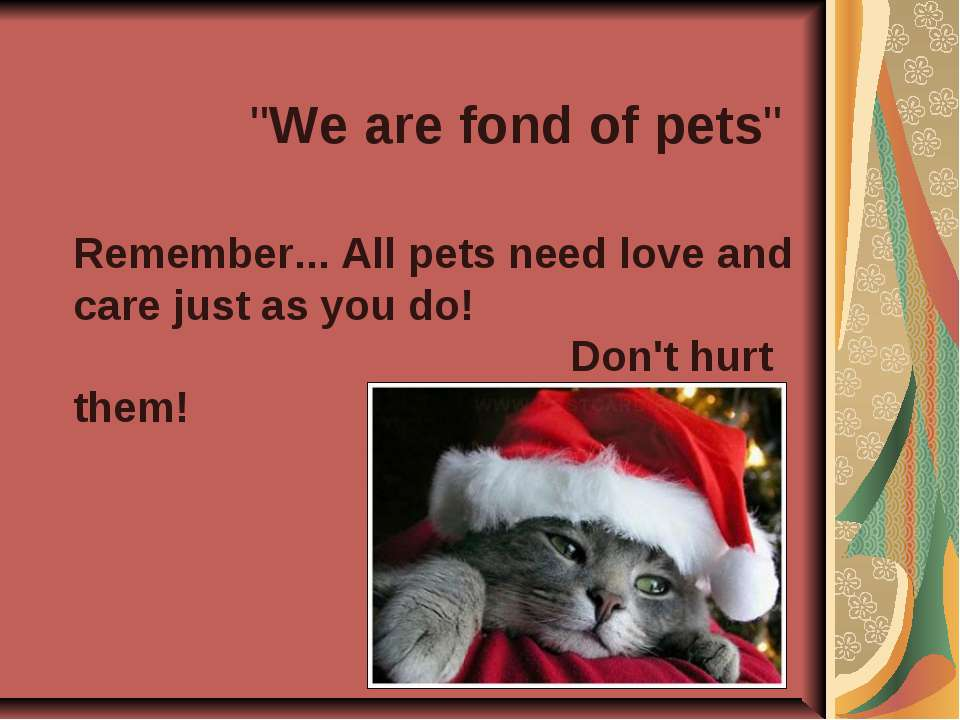 """""""We are fond of pets"""" Remember... All pets need love and care just as you do!..."""