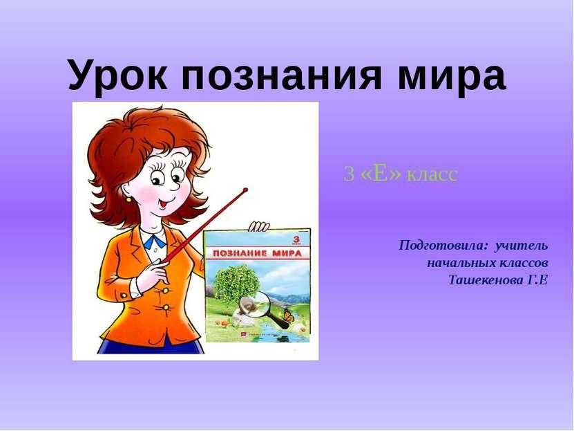 Урок познания мира Подготовила: учитель начальных классов Ташекенова Г.Е 3 «Е...
