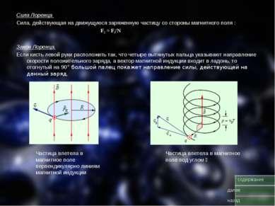 Сила Лоренца Сила, действующая на движущуюся заряженную частицу со стороны ма...
