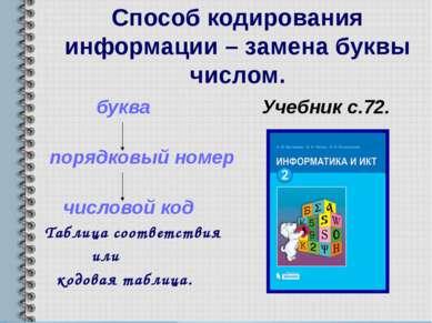 Способ кодирования информации – замена буквы числом. буква Учебник с.72. поря...
