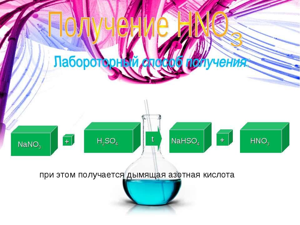 NaNO3 + H2SO4 t NaHSO4 + HNO3 при этом получается дымящая азотная кислота