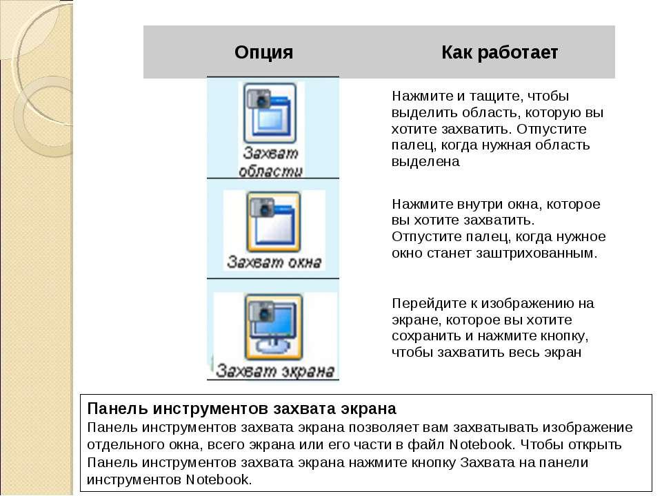 Панель инструментов захвата экрана Панель инструментов захвата экрана позволя...