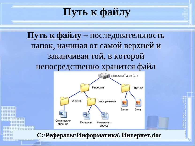 Путь к файлу – последовательность папок, начиная от самой верхней и заканчива...