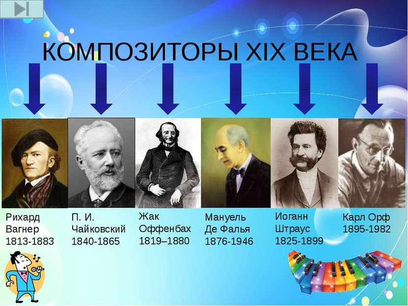 КОМПОЗИТОРЫ XIX ВЕКА Рихард Вагнер 1813-1883 П. И. Чайковский 1840-1865 Жак О...