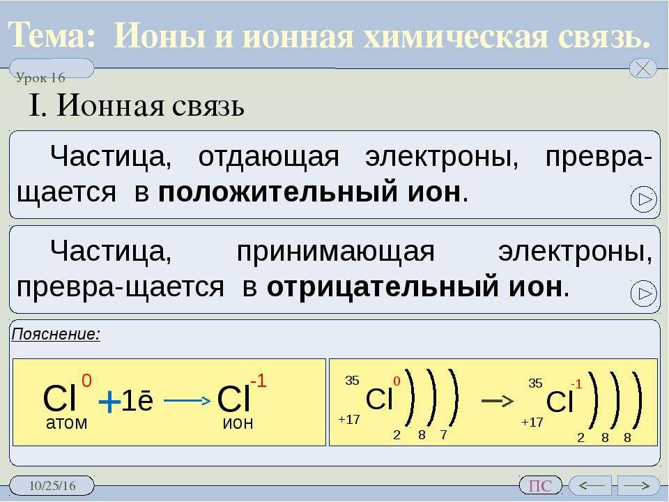 Ионы и ионная химическая связь. I. Ионная связь Пояснение: Частица, отдающая ...