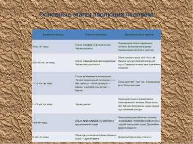 Основные этапы эволюции человека Временные границы Этапы антропогенеза Характ...