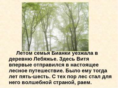 Летом семья Бианки уезжала в деревню Лебяжье. Здесь Витя впервые отправился в...