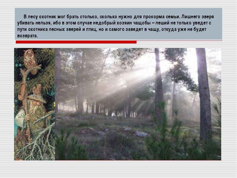 В лесу охотник мог брать столько, сколько нужно для прокорма семьи. Лишнего з...