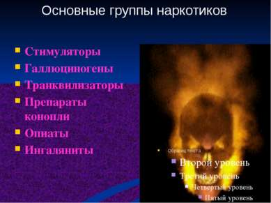 Стимуляторы Галлюциногены Транквилизаторы Препараты конопли Опиаты Ингаляниты...
