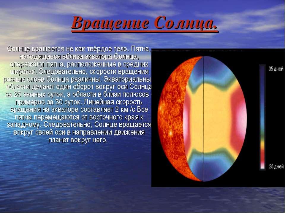 Вращение Солнца. Солнце вращается не как твёрдое тело. Пятна, находящиеся вбл...