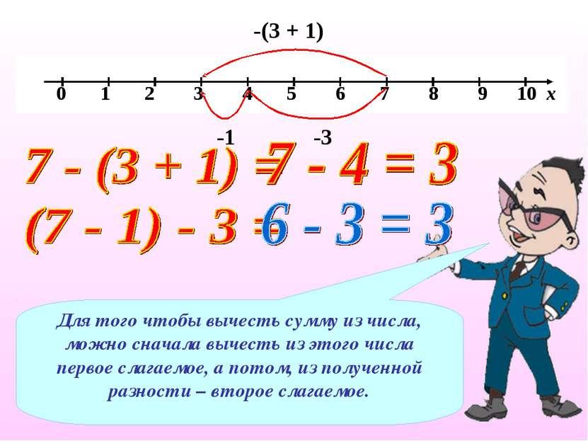 -(3 + 1) -1 -3 Для того чтобы вычесть сумму из числа, можно сначала вычесть и...