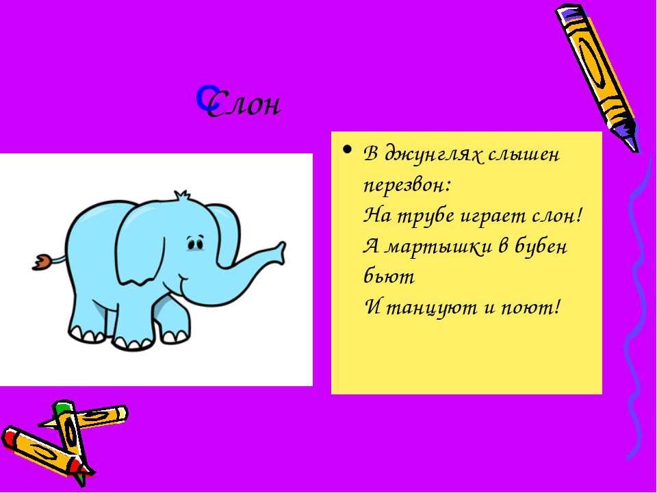 Слон В джунглях слышен перезвон: На трубе играет слон! А мартышки в бубен бью...