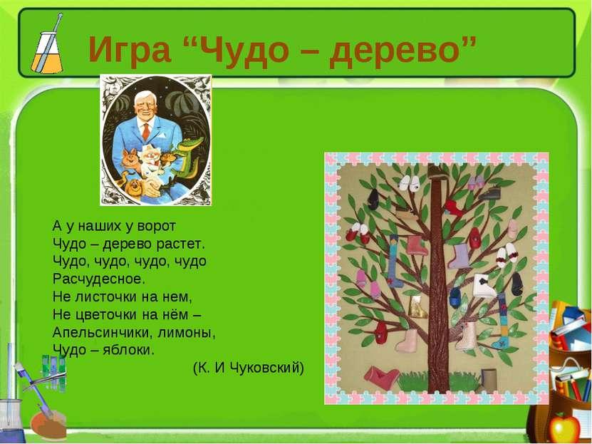 "Игра ""Чудо – дерево"" А у наших у ворот Чудо – дерево растет. Чудо, чудо, чудо..."