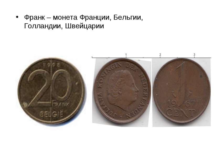 Франк – монета Франции, Бельгии, Голландии, Швейцарии