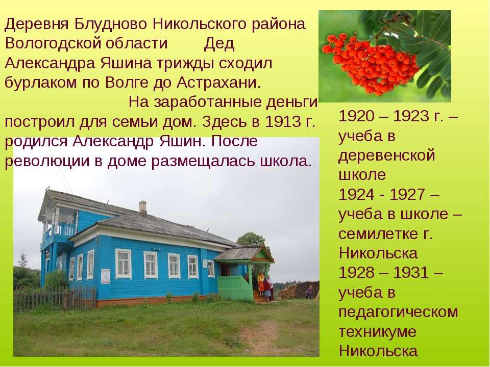 Деревня Блудново Никольского района Вологодской области Дед Александра Яшина ...