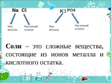 PO4 Ион металла Кислотный остаток Ион металла Кислотный остаток Na Cl K3 Соли...